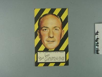 1953 Argus Football Portrait Des Rowe trade card