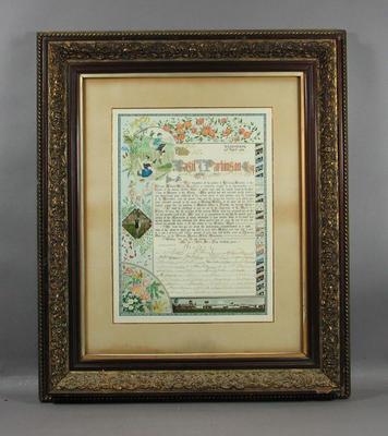 Illuminated address presented to Basil John Parkinson by Victorian Amateur Athletic Association, 25 April 1896