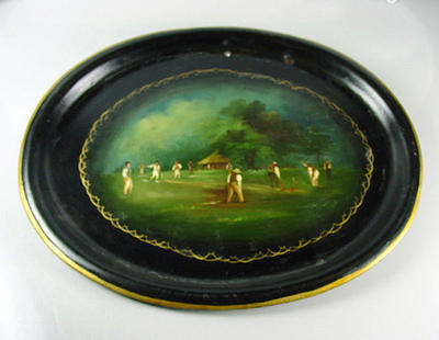 Tray, hand-painted image of cricket match