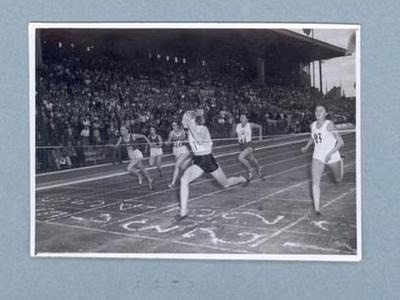 Photograph of 100m race finish, International Friendly Sports Meeting of Youth 1955