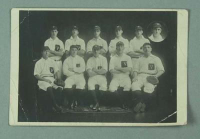 Black and white photo postcard, 1921 Victorian Baseball Team; Documents and books; 1986.1286.1