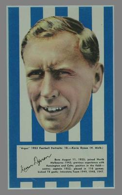 1953 Argus Football Portrait Kevin Dynon trade card