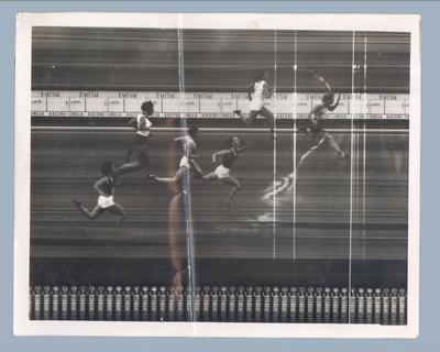 Photo finish of 100m race, International Friendly Sports Meeting of Youth 1955