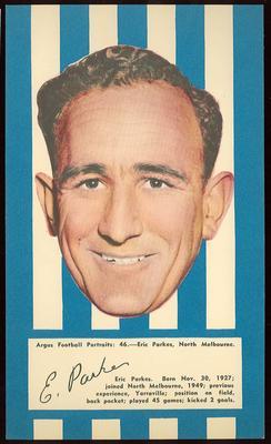 1953 Argus Football Portrait Eric Parkes trade card
