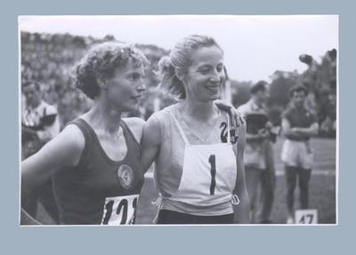 Photograph of Shirley Strickland & Zinaida Safranova, 1955 International Friendly Sports Meeting of Youth
