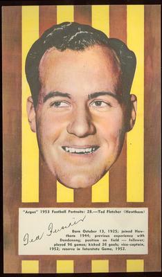 1953 Argus Football Portrait Ted Fletcher trade card