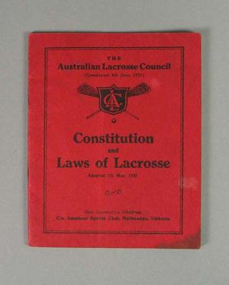 Booklet, ''Australian Lacrosse Council Constitution and Laws of Lacrosse 1935""