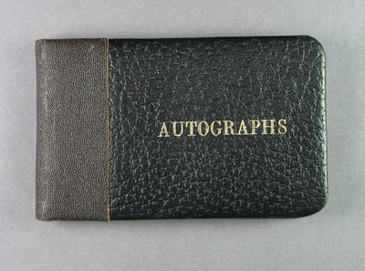 Autograph book, owned by Shirley Strickland c1955