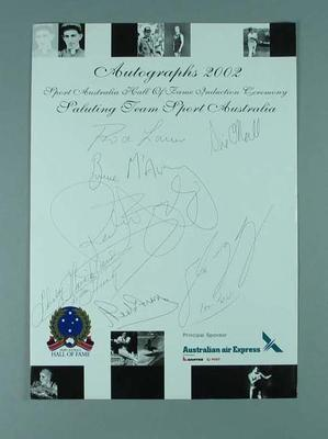 Autograph sheet 2002 Sport Australia Hall of Fame Induction Ceremony; Documents and books; 2004.4094.2