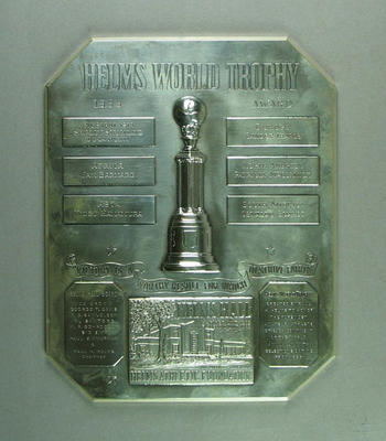 Helm's World Trophy plaque, awarded to Shirley Strickland in 1955