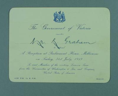 Invitation, Reception at Parliament House Melbourne 31 July 1959, Mr. R. Graham