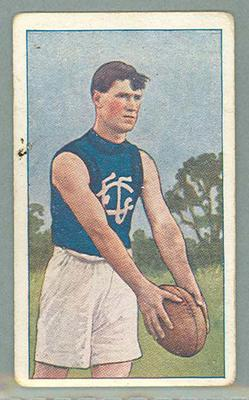 1922 Magpie Cigarettes Victorian League Footballers Maurie Beasy trade card