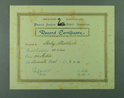 WAWAAA Record Certificate presented to Shirley Strickland, 3 March 1956