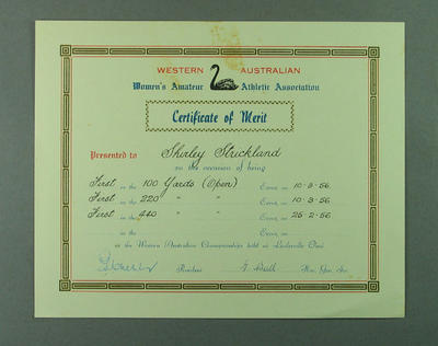 WAWAAA Certificate of Merit presented to Shirley Strickland, February-March 1956