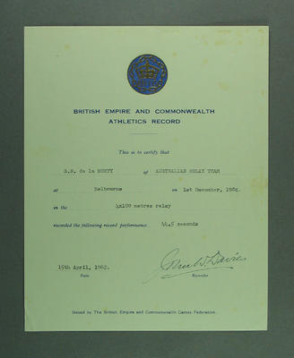 British Empire & Commonwealth Athletics Record certificate presented to Shirley Strickland, 1 Dec 1956