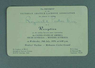 Invitation to reception for visiting lacrosse players at the MCG, 29 July 1959