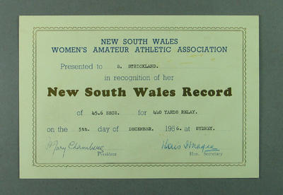 NSWWAAA Record Certificate presented to Shirley Strickland, 5 Dec 1956