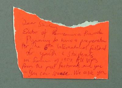 "Letter from editor of ""Komsamerka Pravda"" to Shirley Strickland, 19 April 1956"