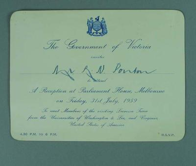 Invitation to reception for visiting lacrosse players at Parliament House, 31 July 1959