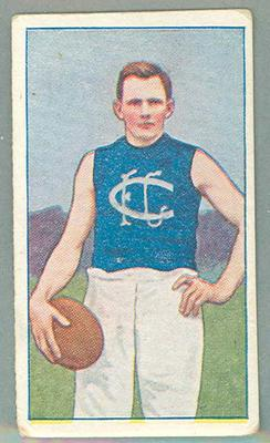 1922 Magpie Cigarettes Victorian League Footballers Rupe Hiskins trade card