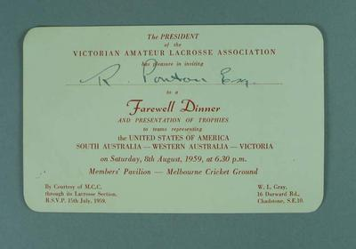 Invitation to a farewell for visiting lacrosse players at the MCG, 8 August 1959