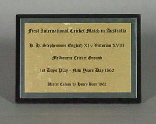 """Display text for painting, """"First International Cricket Match at MCG by Henry Burn"""""""