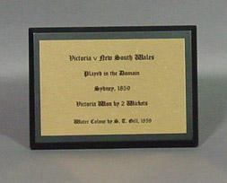 """Display text panel, """"Victoria v NSW 1859, by S.T. Gill""""; Civic mementoes; M6553.2"""