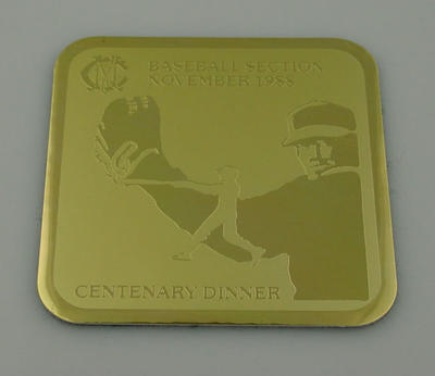 MCC Baseball Section Centenary Dinner Coaster, November 1988
