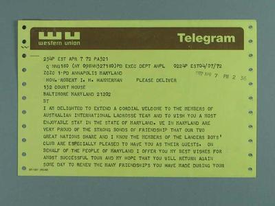 Telegram welcoming Australian lacrosse team to Maryland, 7 April 1972