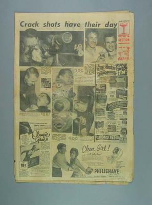 """""""Swim Relay should get medal"""", """"The Herald 3/12/56; Documents and books; 2004.4105.3"""