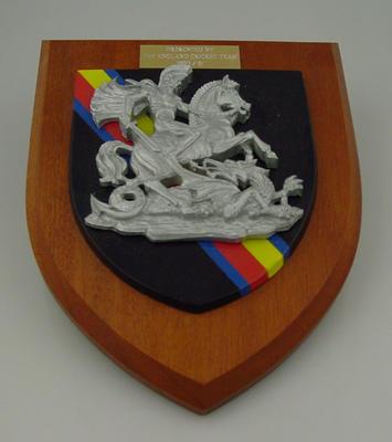 Presentation wood plaque, St. George  - English Cricket Touring Team 1990-91; Civic mementoes; M3204