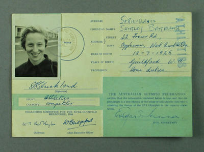 Identification card issued to Shirley Strickland, 1956 Olympic Games