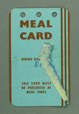 Meal card issued to Shirley Strickland, 1956 Olympic Games