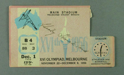 Ticket to main stadium of 1956 Olympic Games for 1 Dec, signed by Shirley Strickland