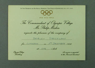 Invitation to a luncheon in 1956 Olympic Village, addressed to Shirley Strickland