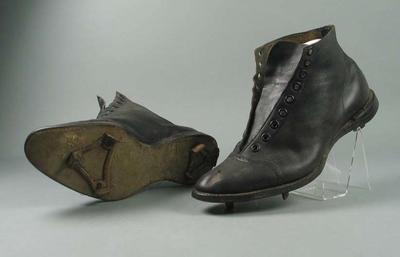 Pair of baseball boots, worn by Bruce White c1912-20