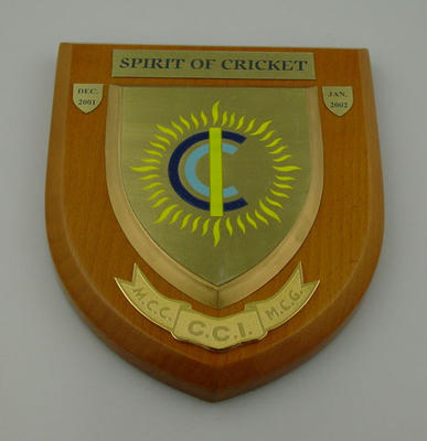 Plaque: 'Spirit of Cricket',  Cricket Club of India at the MCG, 2001-2002