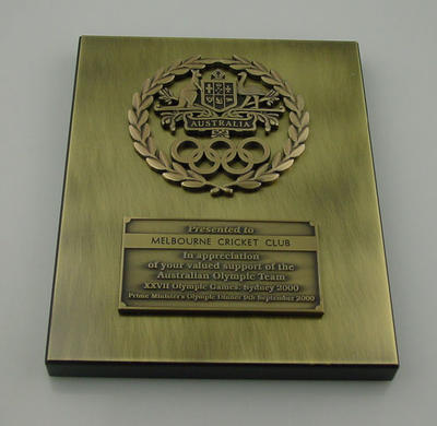 Plaque presented to Melbourne Cricket Club, Prime Minister's Olympic Dinner 2000