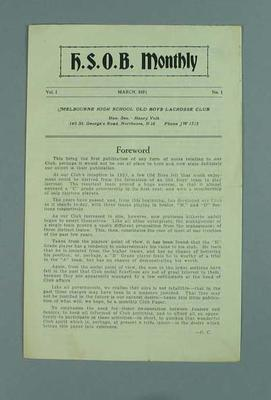 Pamphlet - H.S.O.B. Monthly, Vol. 1, March 1931, No. 1