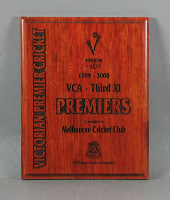 Plaque, Melbourne CC Third XI - VCA Premiers 1999-2000