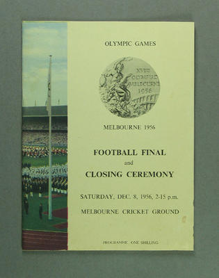 Programme for 1956 Olympic Games football final and closing ceremony, 8 Dec