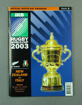 Rugby union match program - New Zealand v Italy, 2003 Rugby World Cup