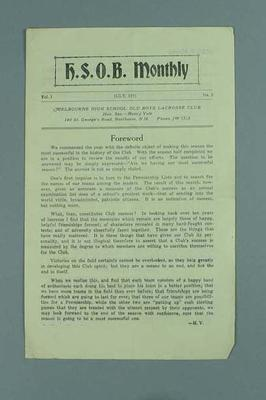 Pamphlet - H.S.O.B. Monthly, Vol. 1, July 1931, No. 5