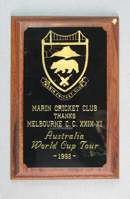 """Wall plaque/shield:  'Melbourne Cricket Club, founded 1838"""""""