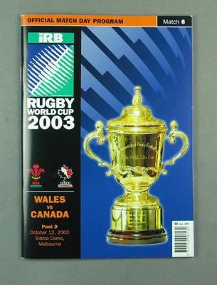 Rugby union match program - Wales v Canada, 2003 Rugby World Cup