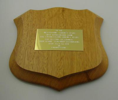 Plaque presented to Melbourne Cricket Club by Launceston Cricket Club - 1991