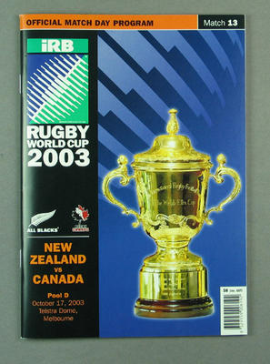 Rugby union match program - New Zealand v Canada, 2003 Rugby World Cup