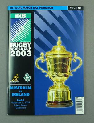 Rugby union match program - Australia v Ireland, 2003 Rugby World Cup