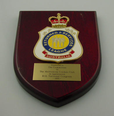 Returned & Services League Australia plaque, presented to Melbourne Cricket Club Committee - 1995 National Congress