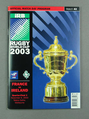 Rugby union match program - France v Ireland, 2003 Rugby World Cup